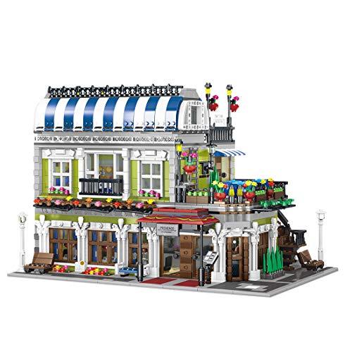 ColiCor City Street View Romántico juego de construcción de restaurante, 3577 piezas pequeñas de bloques de construcción de partículas para niños y adultos, compatible con Lego