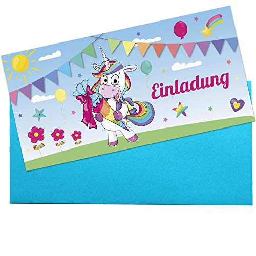 KREATIVES HERZ - Einladungskarten zur Einschulung Einhorn Schultüte 10er Set Einladungen Schulanfang Karten 1.Schultag Mädchen (10 Karten m. Umschlägen)
