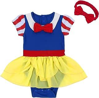 FYMNSI Newborn Baby Girls Snow White Princess Costume Fancy Birthday Bodysuit Romper Tutu Headband Halloween Christmas Outfit