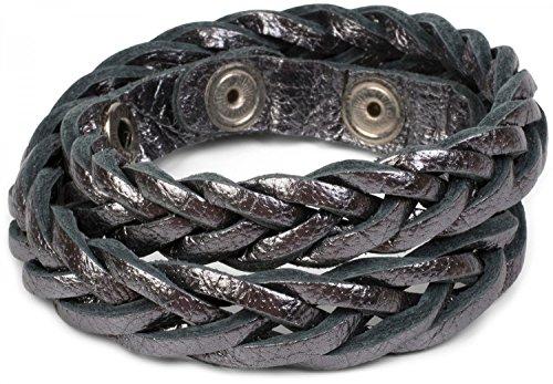 styleBREAKER Leder Armband in Flecht-Optik, Vintage Style, Lederarmband, Unisex 05040053, Farbe:Grau Metallic