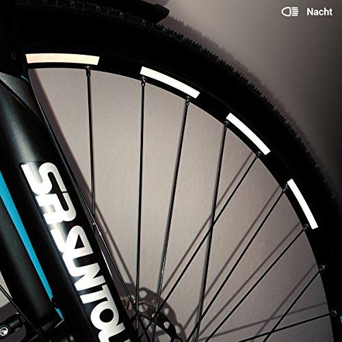 Motoking Fahrrad-Reflektorenaufkleber - Weiß - 26 Aufkleber im Set - Breite: 7 mm - reflektierende Felgenaufkleber für Trekkingbike-, Fahrradfelgen & mehr