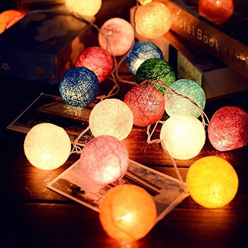 Verlichting voor slaapkamer, regenbooglicht, voor de tuin, thuis, 3 m, 20 lampen, Thailands, katoenen bollen, lamp, katoenen bollen, batterijbox, Tiffany, modellen plug-in