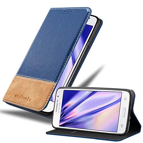 Cadorabo Hülle für Samsung Galaxy Grand Prime - Hülle in BLAU BRAUN – Handyhülle mit Standfunktion und Kartenfach aus Einer Kunstlederkombi - Case Cover Schutzhülle Etui Tasche Book