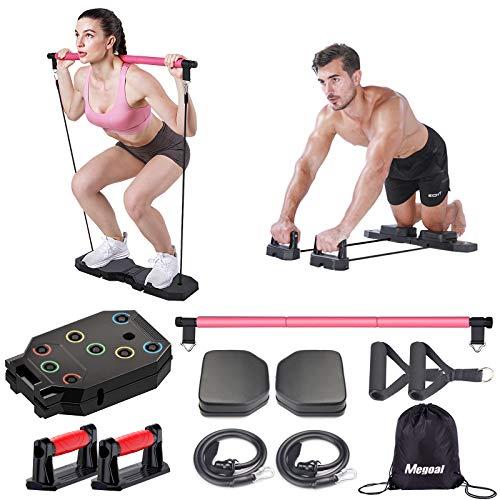 Megoal Tragbares Heim-Fitnessstudio, Muskelaufbau, Trainingsgerät für Männer und Frauen, Trainingsgeräte mit Widerstandsbändern, Bauchrollen und Pilates-Bar, Fitnessgeräte für Indoor Outdoor Reisen