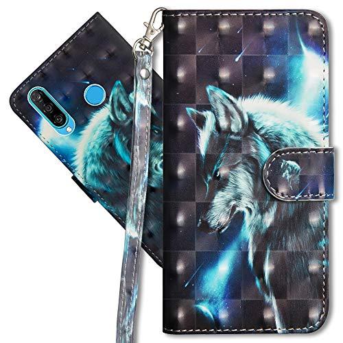 MRSTER Huawei P30 Lite Handytasche, Leder Schutzhülle Brieftasche Hülle Flip Hülle 3D Muster Cover mit Kartenfach Magnet Tasche Handyhüllen für Huawei P30 Lite. YX 3D - Wolf