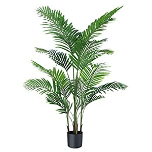 Ferrgoal Artificial Plants Fake Plant Areca Palm Tree Plant in Pot Fake Yellow Palm 5.2 feet Faux Plants for Home Office Indoor Outdoor Modern Decor Housewarming Gift 1 Pack