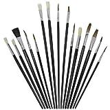 Artina Set da 15 pennelli: setole a punta piatta tonda lingua di gatto -per pittura con co...