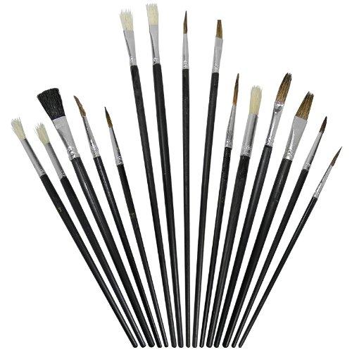 Artina - Lot de 15 pinceaux - Brosses, Plats et Ronds - Idéal pour Toutes Techniques: Aquarelle, Acrylique, Huile
