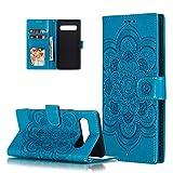 HMTECH Galaxy S10 Hülle,Für Samsung Galaxy S10 Handyhülle Prägung Mandala-Blume Flip Hülle PU Leder Cover Magnet Schutzhülle Tasche Skin Ständer Handytasche für Samsung Galaxy S10,LD Mandala Blue
