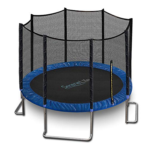 Outdoor Trampoline with Enclosure 8FT - Full Size Backyard Trampoline with Safety Net - Enclosed Trampoline for Kids, Teen, Adult - 8 Feet Indoor Outdoor Trampolines - SereneLife SLTRA8BL (Blue)