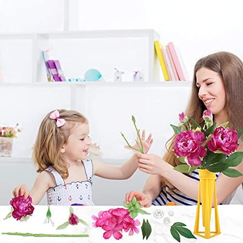 Euclidean Cube Künstliche Blumen, DIY Blumen Deko Künstlich Gefälschte Pfingstrose mit Vase Blumen Künstlich Seidenstrauß Plastik Blume für Hausgarten Party Hotel Büro Dekor (3 PCS) (Lila)