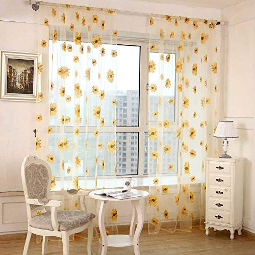 Diamondo Chiffon Sunflower Curtain Sheer Drape Panel Scarf Voile Door Window Decor (D)