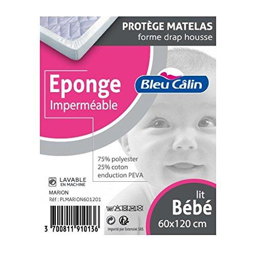 Bleu Câlin Protège Matelas Eponge Imperméable Forme Drap Housse Lit Bébé 60x120 cm PLMARION