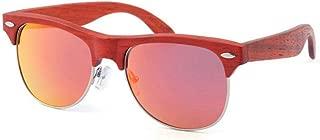 LUKEEXIN Blue Color Women's Rivet Decoration Semi-Rimless Polarized Wooden Sunglasses Handmade TAC Lens UV Protection Driving Sunglasses Beach Sunglasses (Color : Red)