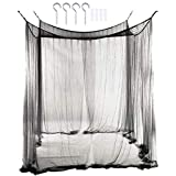 CARRYKT Mosquito Net Canopy 4-Corner Post Student Canopy Bed Curtains Accessories Mosquito Net Netting Queen King Size 190 x 210 x 240cm(Black)