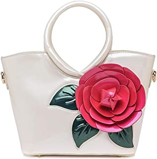 Trendy Ladies Sweet Lady Bag Waterproof Handbag Pearlescent Patent Leather Flower Shoulder Bag Zgywmz (Color : White, Size : 23 * 11 * 21cm)