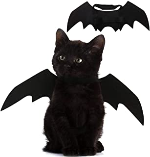 Pet Cat Costume Halloween Bat Wings Pet Costumes Pet Apparel for Small Dogs and Cats, Collar Cosplay Bat Costume