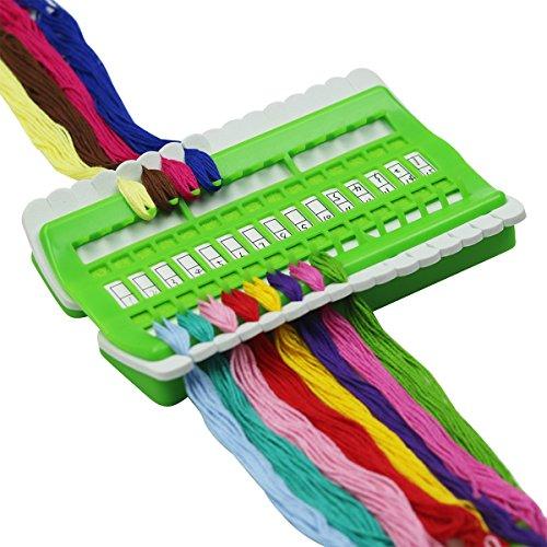 D & D Garnorganisierer, wiederverwendbares Kunststoff-Board, Kreuzstich-Werkzeug, Zeile, Linie, 30Einfädelstifte für Multifunktions-Hobby-Zubehör grün