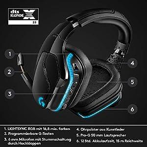 Logitech G935 kabelloses Gaming-Headset mit LIGHTSYNC RGB, 7.1 Surround Sound, DTS Headphone:X 2.0, 50mm Treiber, Flip-Stummschaltung, Wireless Verbindung, PC/Mac/XboxOne/PS4/Nintendo Switch, Schwarz