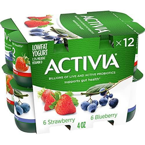 DANNON Activia Light Probiotic Nonfat Yogurt, Strawberry/Blueberry, 48 Oz, 12 Count