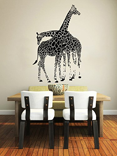 Wall Decals Giraffe Animals Jungle Safari African Childrens Decor Kids Vinyl Sticker Wall Decal Nursery Bedroom Murals Playroom Art (6054)