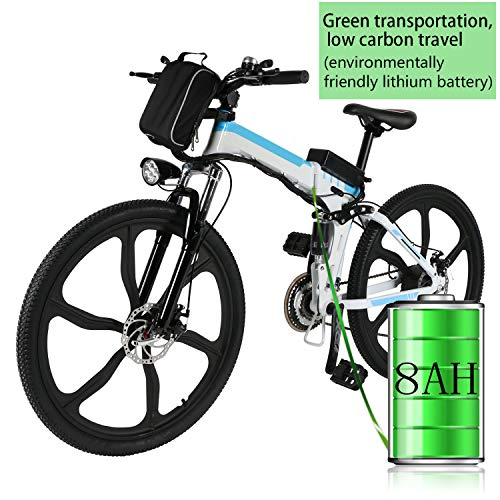 Bunao Bicicletta Elettrica City Bike Pieghevole a Pedalata Assistita, 21 velocità, Ruote 26'', velocità 25km/h, 36V 8AH (Ruote 26''_4)