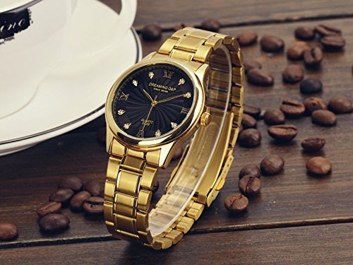 IP Gold Plating Steel Roman Numeral Dial with Rhinestones Luxury Mens Wrist Watches for Man Black 003