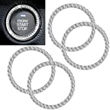 4Pcs Bling Car Decor Ignition Button Ring,Bling Car Accessories,Emblem Sticker 35 Pcs Crystal Sparkling Rhinestones for Engine Ignition Button, AC Control Knobs, Volume and Tune Knobs, Gift for Her
