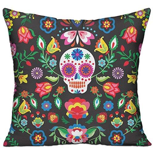 Mesllings 2019 - Funda de cojín Cuadrada con diseño de Calaveras mexicanas de azúcar y Flores muertas para sofá, Dormitorio o Coche - Insertos no incluidos - 45,7 x 45,7 cm