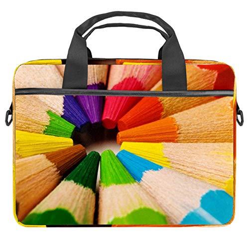 LORVIES Regenboog Crayon Potloden Laptop Tas Schouder Messenger Tas Zakelijke Mouw Draaghandvat Tas voor 14 naar 15.4 inch Laptop Notebook