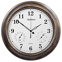 SkyNature Outdoor Clocks, 18 Inch Large Indoor Outdoor Wall Clock Waterproof with Temperature and Humidity, Silent Metal Pool Clock for Garden, Patio, Fence.