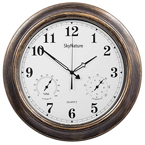 SkyNature Outdoor Clocks, 18 Inch Large Indoor Outdoor Wall Clock Waterproof with Temperature and Humidity …