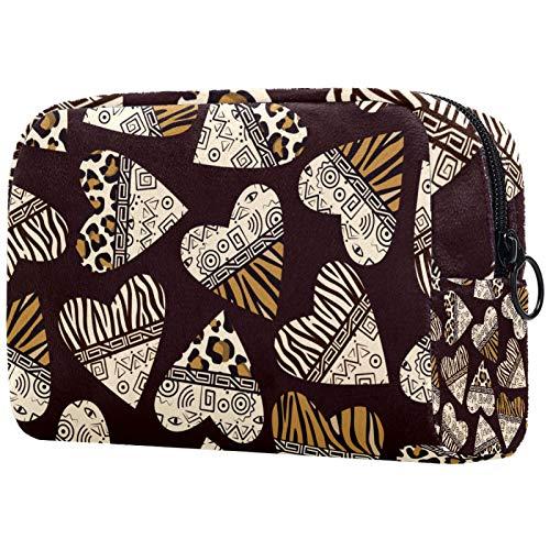 Bolsa de cosméticos impermeable de 18,5 x 7,5 x 13 cm, corazones con piel de animal monedero con cremallera negra para mujeres y niñas, bolsa de cosméticos de viaje organizador de accesorios