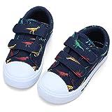 STQ Toddler Boy Shoes Kids Canvas Sneakers Comfortable Tennis Walking School Shoes Dark Blue/Dinosaur 13 M US Little Kid