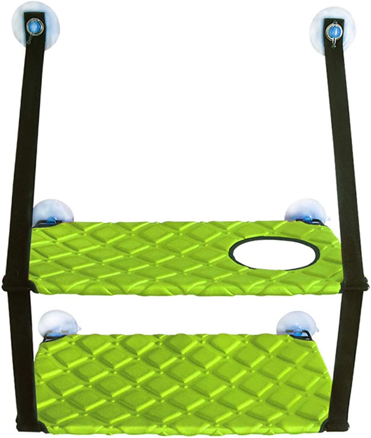 Cat Hammock Sturdy Construction, Pet Perch Detachable and Washable, Cat Sleeping Bed with Heavy Duty Suction Cups for Sunbath,Green,Double