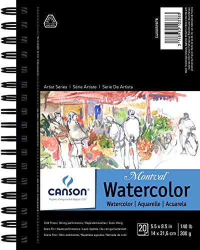 Canson Artist Series Watercolor Pad, 5.5' x 8.5' Side Wire