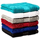 Amazon Basics Fade-Resistant Cotton Hand Towel - Pack of 6, Multi-Color Black, White, Grey, Navy, Teal, Crimson