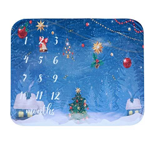 TOYANDONA Bebé Mensual Milestone Blanket Christmas Tree Printing Baby Month Blanket Flannel Memory Photography Background Tapiz Telón de Fondo para La Sesión de Fotos del Recién Nacido