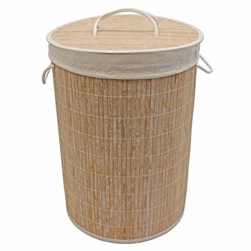 JVL Cesto Redondo de bambú para Ropa