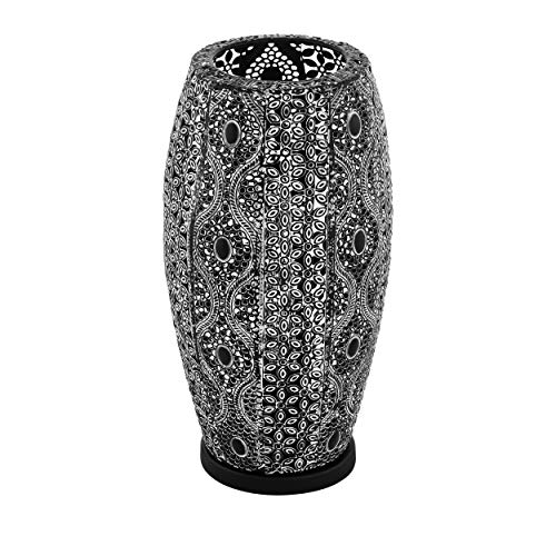 EGLO Tischlampe Riyadh, 1 flammige Tischleuchte Vintage, Orientalisch, Boho, Nachttischlampe aus Stahl, Wohnzimmerlampe in Schwarz, Schwarz-Antik, Lampe mit Schalter, E27 Fassung