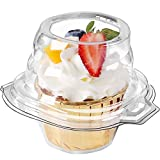 FoodieJoy 60 Counts Individual Cupcake Containers Stackable Single Compartment Cupcake Disposable Carrier Holder Box Deep Dome Clear Plastic BPAFree (60 counts)