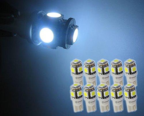 Zone Tech 10x T10 194 168 2825 5-smd White High Power SUPER BRIGHT LED Car Lights Bulb