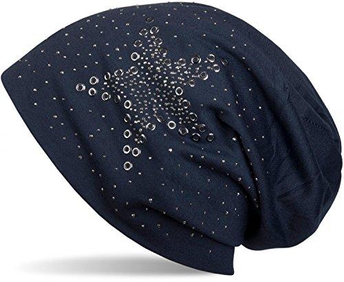 styleBREAKER Beanie Mütze mit Stern Nieten und Strass Applikation, Lochnieten, Unisex 04024049, Farbe:Midnight-Blue