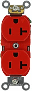 Leviton 5362-IGR 20-Amp, 125 Volt, Industrial Series Heavy Duty Specification Grade, Duplex Receptacle, Straight Blade, Isolated Ground, Red