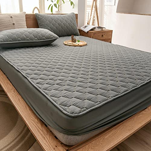 Hoeslaken Zacht Duurzaam,waterdichte gewatteerde dikke hoeslakens, antislip beschermingsmat voor slaapkamer appartement hotel-grijs_180cmx220cm