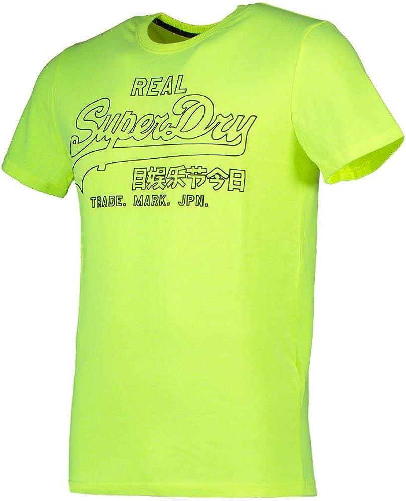 Superdry Herren Vl Outline Pop Tee T-Shirt Gelb (Neon Yellow 24k)