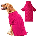 PUPTECK Classic Cable Knit Dog Sweater - Pet Turtleneck Coat Puppy Winter Clothes 2 Colors Brown Large