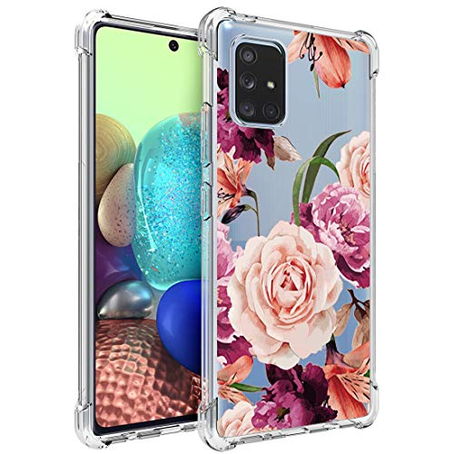 Osophter for Galaxy A71 5G Case Clear[NOT for A71] Transparent Reinforced Corners TPU Shock-Absorption Flexible Cell Phone Cover for Samsung Galaxy A71 5G((Purple Flower)