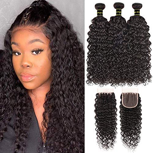 Miss CARA Water Wave Bundles with Closure Virgin Human Hair Ocean Wave Bundles 100% Unprocessed Brazilian 3 Bundles Natural Wave Bundles with Closure Human Hair Extensions Natural Color(16 18 20+14)