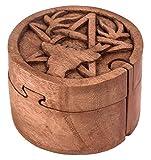 WINDALF Pagan Zauberdose CERNUNNOS Ø 9 cm Hirsch & Pentagramm Schmuckdose Handarbeit aus Holz